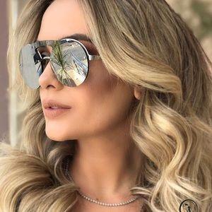 New Prada 60 mm Mirror Silver Rimless Sunglasses